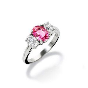 Oval cut pink sapphire and diamond 4 ct engagement